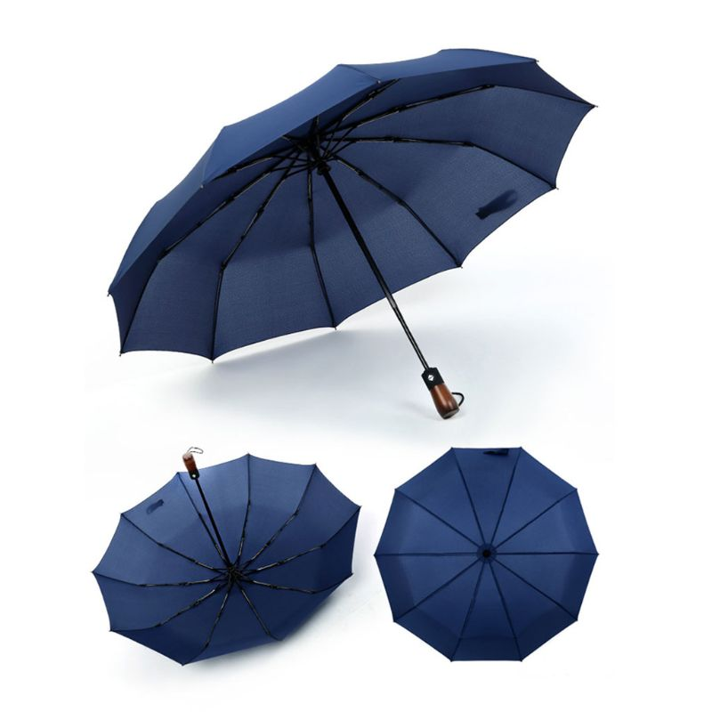 10 <font><b>Ribs</b></font> Auto Open Close Foldable Compact Travel Automatic <font><b>Umbrella</b></font> With Wooden Handle For Women Men <font><b>24</b></font> Inch image