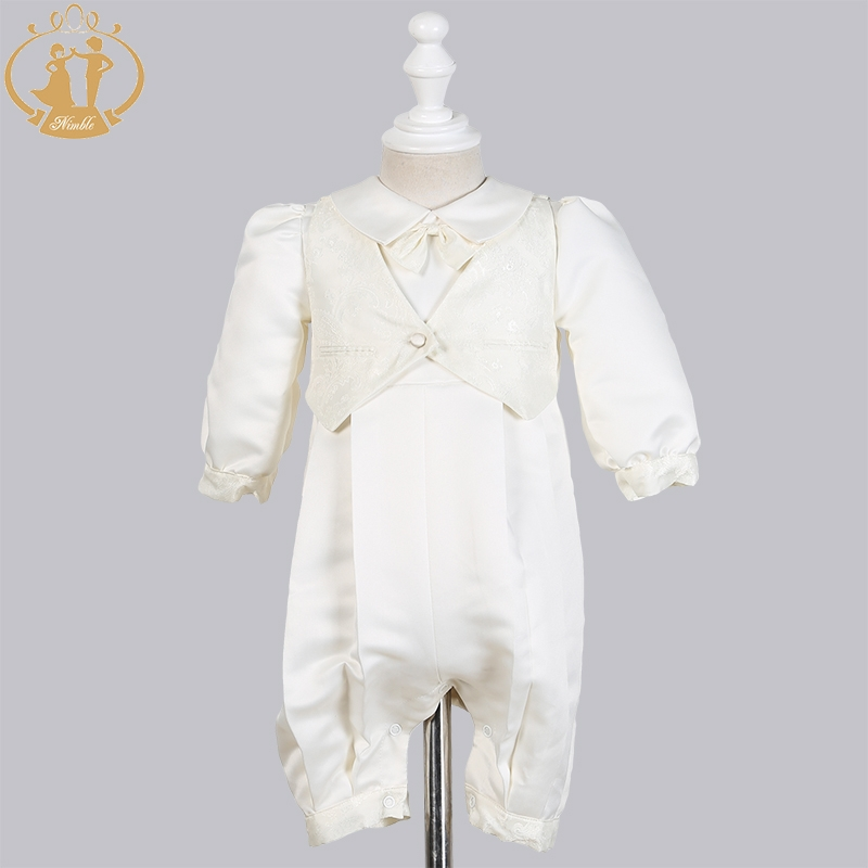 Image 2 - Nimble Baby Boys Christening Gowns Satin Formal Occasion Boys Romper newborns clothes Ivory Kids Baptism Dresses 0 12M-in Clothing Sets from Mother & Kids