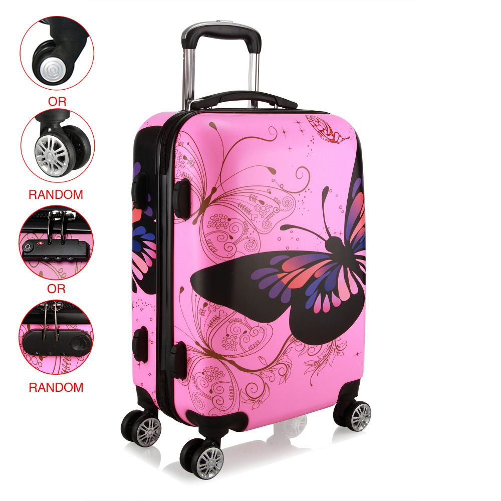 AU Shipping 20 24 28 inch Unisex Trolley Luggage 4 Wheel Spinner Carry On Luggage Suitcase Butterfly PC Travel Trolley cuwhf universal wheel retro suitcase trolley case pc abs suitcase carry on spinner wheel travel luggage 20 24 unisex
