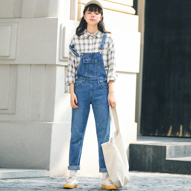 Women Denim   Jumpsuit   Rompers Korean Fashion Scratched Pockets Jean Overalls Blue   Jumpsuit   Pants Casual Loose Mono Mujer Largo
