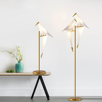 Modern Bird Lampshade Golden base Floor Lamp Light with LED Bulbs Metal Lambader For Living Room Stand Reading Lamp EMS