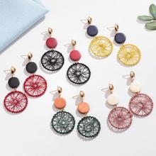 Wheel wound earrings wooden stud geometric round mesh long pendant woven log temperament personality