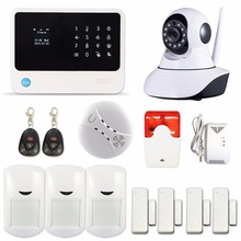 Wi-FI Home Security Alarmsystem Touch Screen Mobile Call GSM Alarm System with Camera Gas Leak Sensor Flash Siren