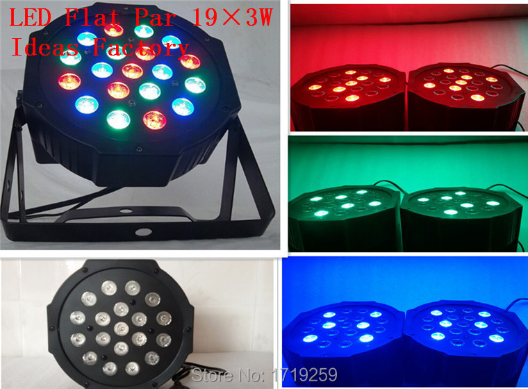 ФОТО Fast Shipping Guangzhou Professional Light LED SlimPar RGB Tri 19x3W 3/7 Channels LED Flat Par Light