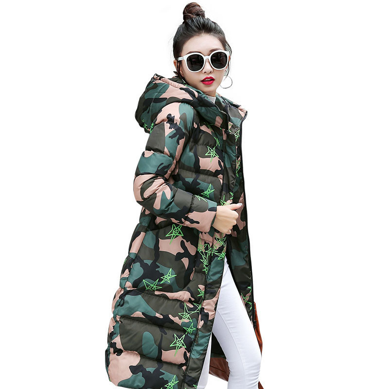 Parkas Mujer Invierno 2017 Women Long Coat Parka Winter Warm Jacket Camouflage Camo Cotton Padded Coat Quilted Jackets new vogue abrigos mujer invierno nice coat women winter padded jacket cotton padded parka solid color hooded parkas tt1115
