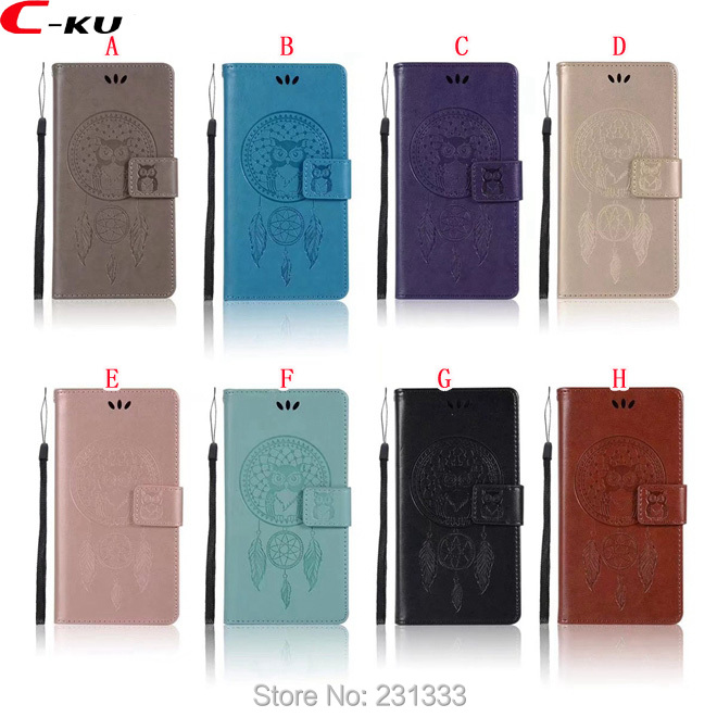 C-ku OWL Wallet Leather Pouch Case For Huawei P10 LITE Y5 2017 Y6 PRO Y7 P9 MATE 10 NOVA 2 Honor 8 6X 7X Stand Card Cover 100pcs