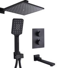 Brass Thermostatic Faucets Black Shower Set 8 Inch Bathroom Rain Shower Diverter Faucet Set With Plastic Handheld Shower Head цена 2017