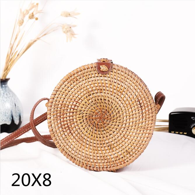 Woven Rattan Bag Round Straw Shoulder Bag Small Beach HandBags Women Summer Hollow Handmade Messenger Crossbody Bags 12