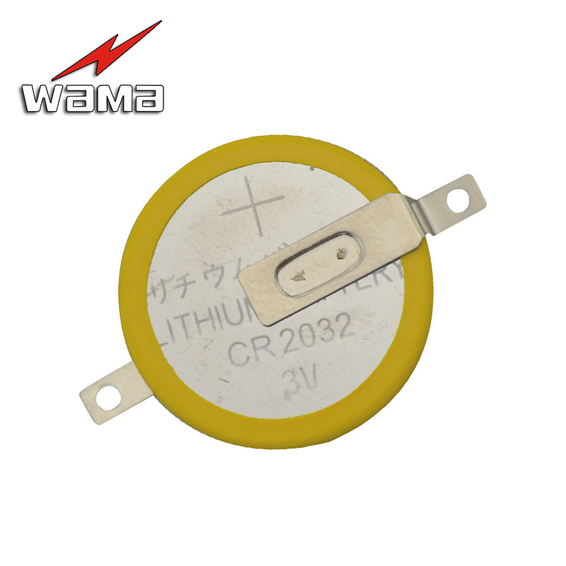 50pcs/lot Wama CR2032 Tabs Solder Foot Soldering Welding <font><b>Battery</b></font> Coin <font><b>Batteries</b></font> 210mAh 3V Button <font><b>2032</b></font> Cell <font><b>Battery</b></font> OEM DIY image