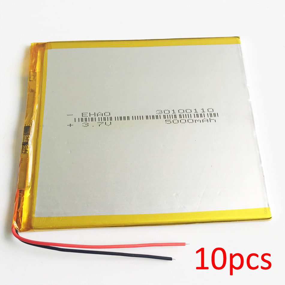 Lot 10 pcs 30100110 <font><b>3.7V</b></font> <font><b>5000mAh</b></font> <font><b>LiPo</b></font> Rechargeable <font><b>Battery</b></font> Polymer Lithium For GPS DVD PAD E-book tablet pc laptop power bank image