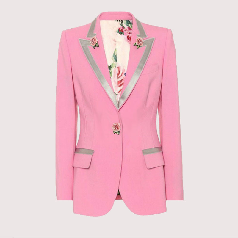 Autumn Winter Rose Print Inside Coat Women High Quality Pink Full Sleeve Turn down Collar Slim