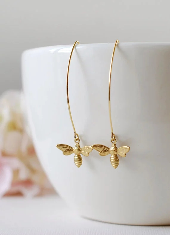Cute Golden Silver Color Filigree Bee Earrings Honey Bee Long Dangle Earring For Women Trendy Wedding Earring Jewelry Gift