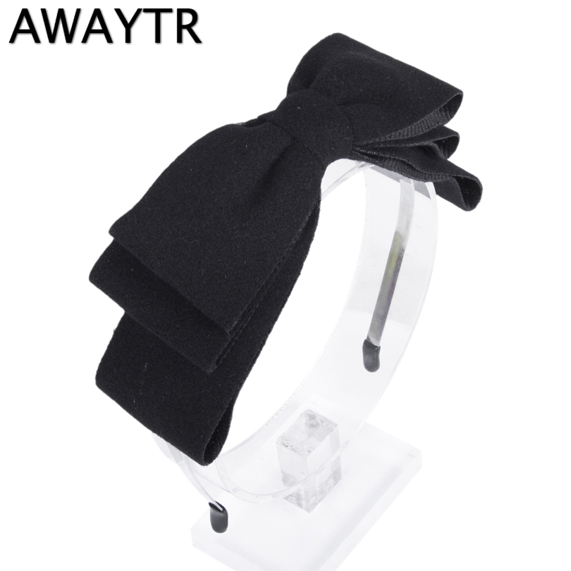 Girls Hair Accessories AWAYTR Velvet Flannel 3 Layer Big Bow Headband Cute Bowknot Wide Hairband Women Winter   Headwear   Headband