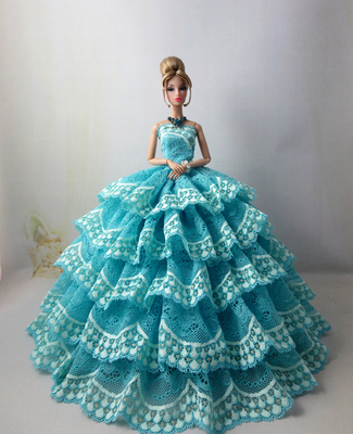 Gowns For Barbie Doll Clothes Wears Princess Evening Party Dress Set For Barbie Baby Outfit 1/6 White Pink Purple Red Black