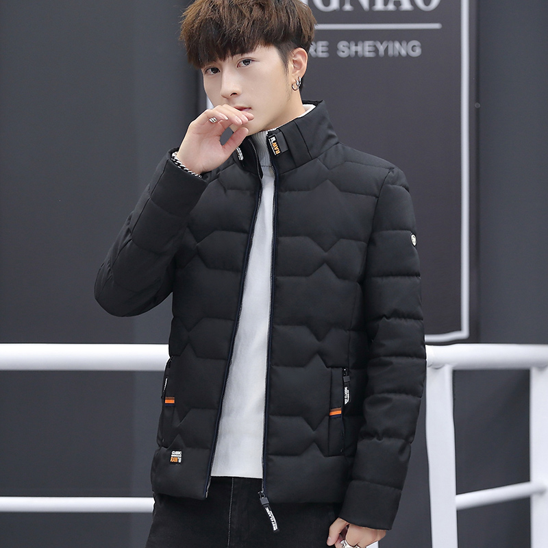 Image 4 - Зимняя куртка, Мужская хлопковая одежда, модная мужская зимняя теплая приталенная куртка пуховик, мужская куртка на молнии, однотонное пальто-in Парки from Мужская одежда