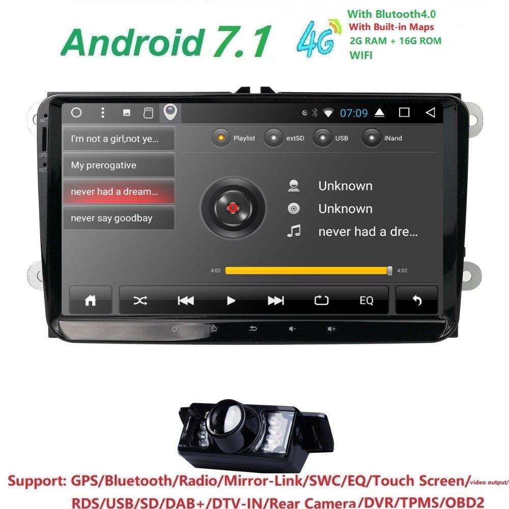 2 Din GPS AutoRadio Android 7.1 Car NO DVD Player for VW Passat B6 golf 5Skoda Octavia 2 Touran scirocco sharan caddy eos navi isudar car multimedia player automotivo gps autoradio 2 din for skoda octavia fabia rapid yeti superb vw seat car dvd player