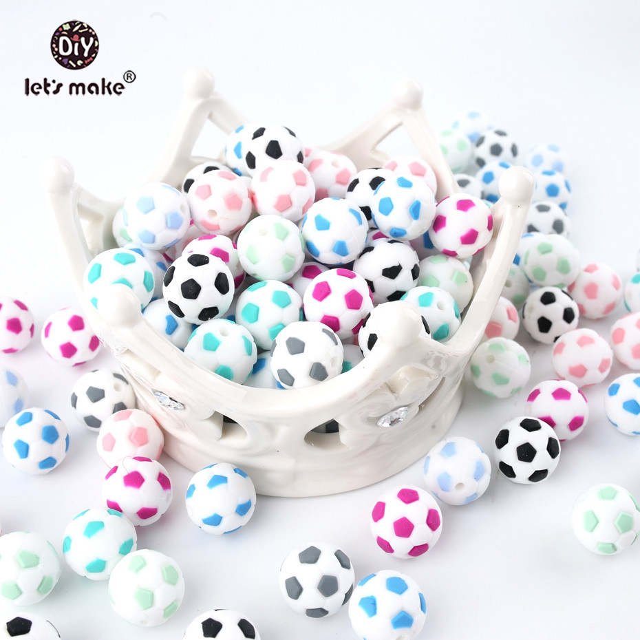 Let's Make Football Baby Teether Silicone Beads 5PCS 15mm Food Grade Pacifier Clips DIY Teething Toy Latex Free Silicone Bead
