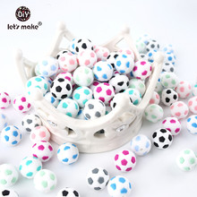 Lets Make Football Baby Teether Silicone Beads 5PCS 15mm Food Grade Pacifier Clips DIY Teething Toy Latex Free Bead