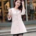 Otoño invierno abrigo de Lana de las nuevas mujeres de gran tamaño Delgado Coreano de lana abrigo chaqueta o-cuello femenino Outwear