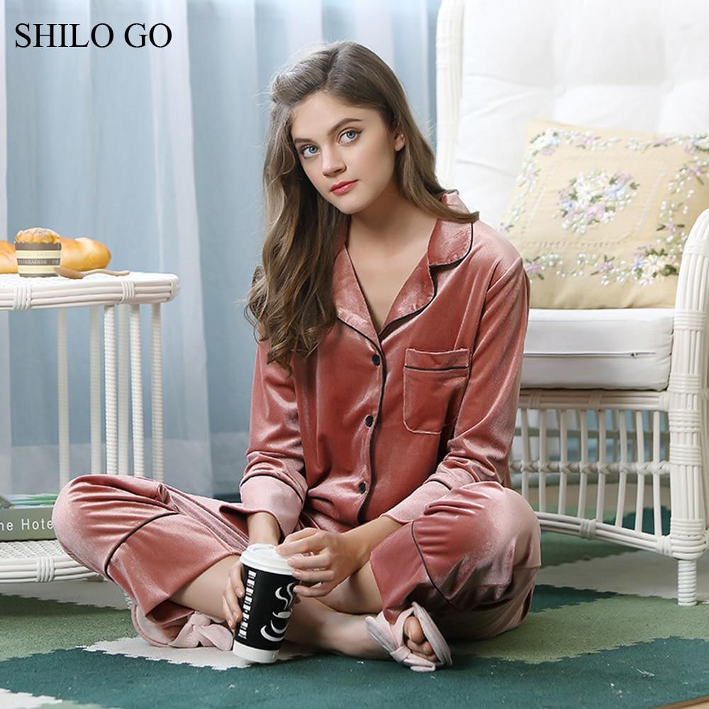 SHILO GO Pajamas Set Winter Women Home Comfort Gold Velvet Lapel Pajamas Set Front pocket long sleeve pajamas suit wine red pant