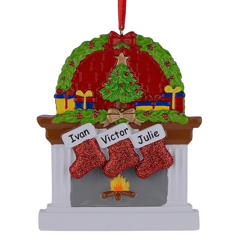 Hars Open haard Glitter Sockings Familie van 3 Kerst Ornamenten - Feestversiering en feestartikelen - Foto 1
