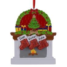 Камин смолы блеск sockings Семья 3 Новогодние товары Украшения персонализированные подарки писать собственное имя для праздника Домашний Декор