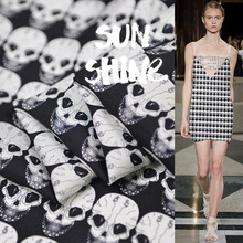 Super Beauty Fashion Skull Printing Cycle Art Twill Silk Fabric Individual Leading Alternative Design