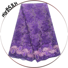 New African Bridal Lace Fabric Wedding French Tulle Nigerian 2019 High Quality Royal Blue Purple