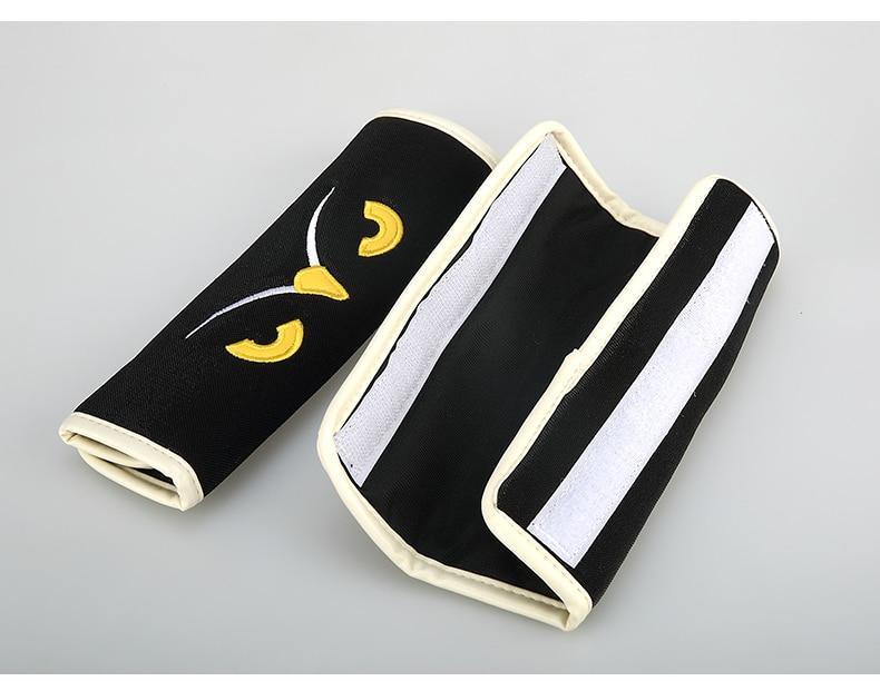 Owl Car Seat Belt Cover 4 seasons Car Belt Shoulder Pad Set Cartoon Products Car Black/Beige Interior Decoration Accessories