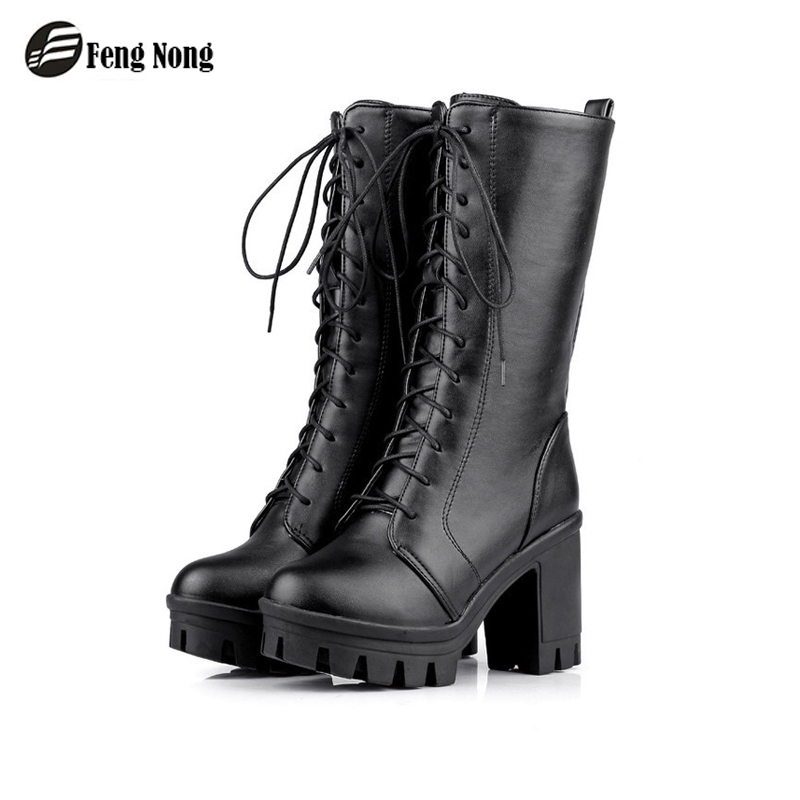 Fengnong Women Motorcycle Boots Female Woman's High Tube Martin Boots Flat Vintage Buckle Casual Lady Boots Plus Size 34-43