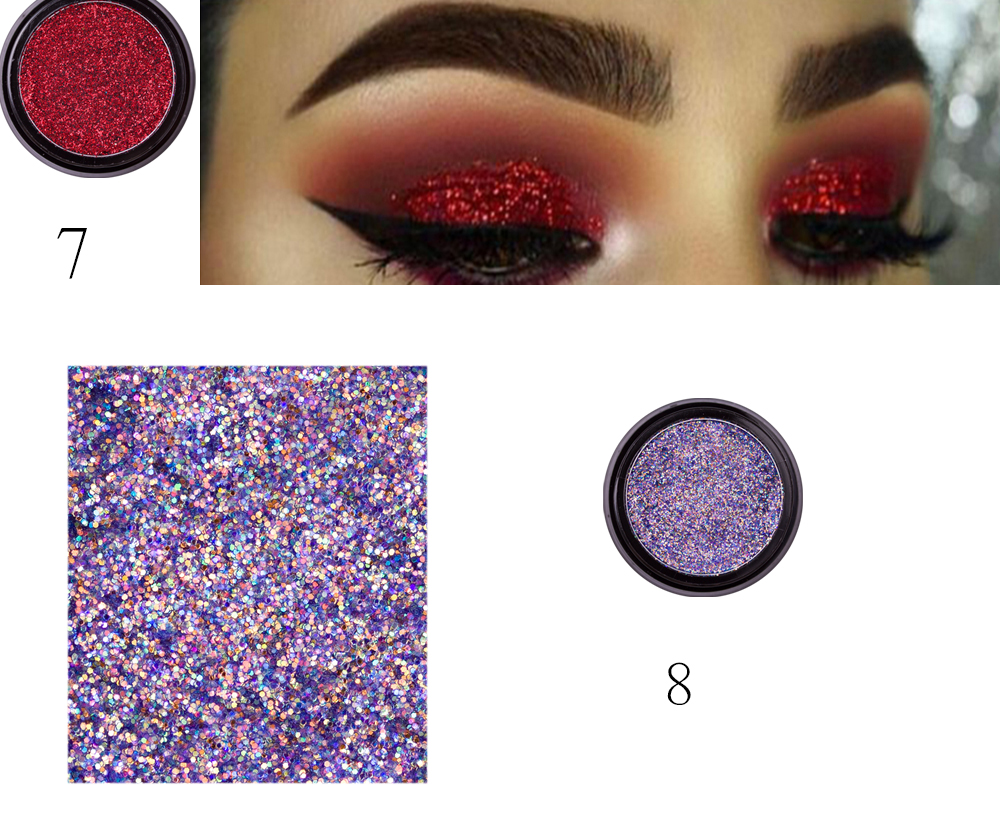 Eye Shadow Latest Collection Of Hot 14 Colors Sequins Eyeshadow Powder High Pigment Makeup Shimmer Body Glitter Eyes Make Up Lip Nail Body Powder Cosmetics