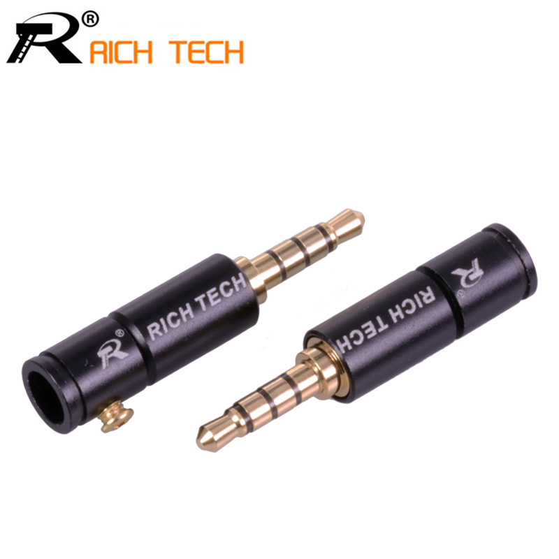 3PCS Gold-plated Jack 3.5 Audio Plug 4 Pole Earphone Connector with Aluminum tube&Screw locks welding free RICH TECH packing