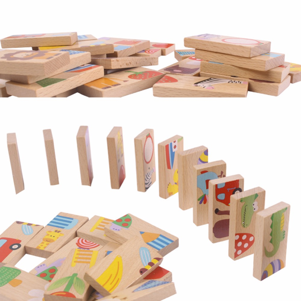 28 PCS Wooden Animal Domino Blocks Toy Safe Wood Domino ...