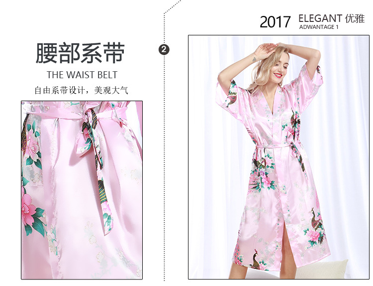 e0e239a7a8 2019 Brand New Black Women Satin Kimono Robes Long Sexy Nightgown ...