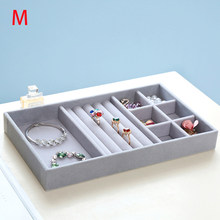 Gray Velvet Ring Bracelet Necklace Watch pendant wek-jin Stud earring Hand catenary Jewelry Tray Plate Showcase Display A232(China)