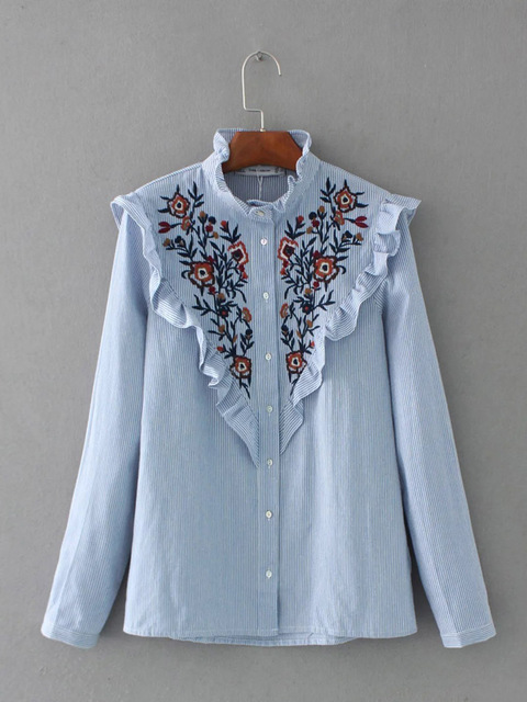 2017spring new European and American style fashion lotus leaf edge embroidered flowers striped collar shirt, ear edging shirt Ms