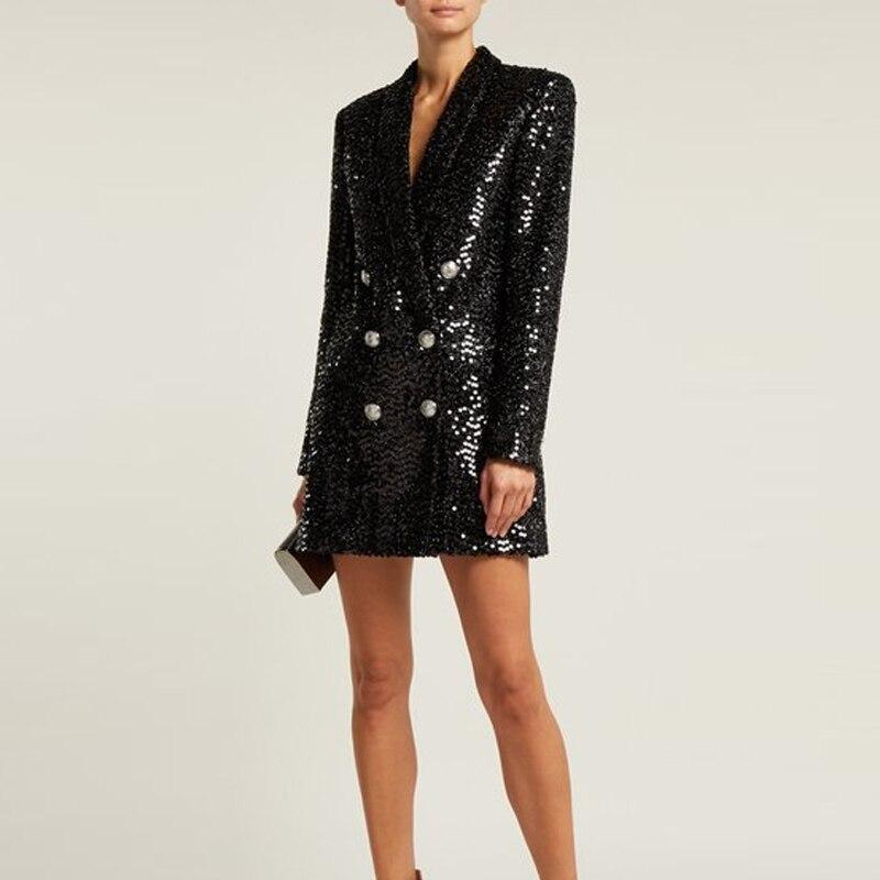 HIGH STREET Newest Fashion 2019 Designer Blazer Women's Lion Buttons Shawl Collar Glitter Sequined Long Blazer Jacket
