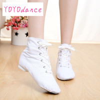 High Top Modern Canvas Jazz Ballet Dance Shoes Split Heels Soft Sole Multicolor Canvas Jazz Shoes