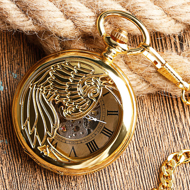 Steampunk Skeleton Relogio Automatico Mechanical Golden Luxury Phoenix Self Winding Nurse Pocket Watch Pendant Unisex Gift