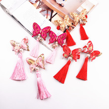 2pcs lot butterfly tassel Hair Clips Red Hairband Head Band Happy New Year Hairpin Hand Made
