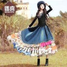 Богемные Длинные Макси женские шифоновые и джинсовые Лоскутные юбки с цветочным рисунком многослойные юбки с оборками и эластичным поясом