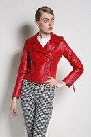 Для женщин из натуральной кожи Куртки и пальто натуральная кожаная куртка Новинка осени 2016 г. мотоцикл овец Байкер красный черный S 3XL наивыс