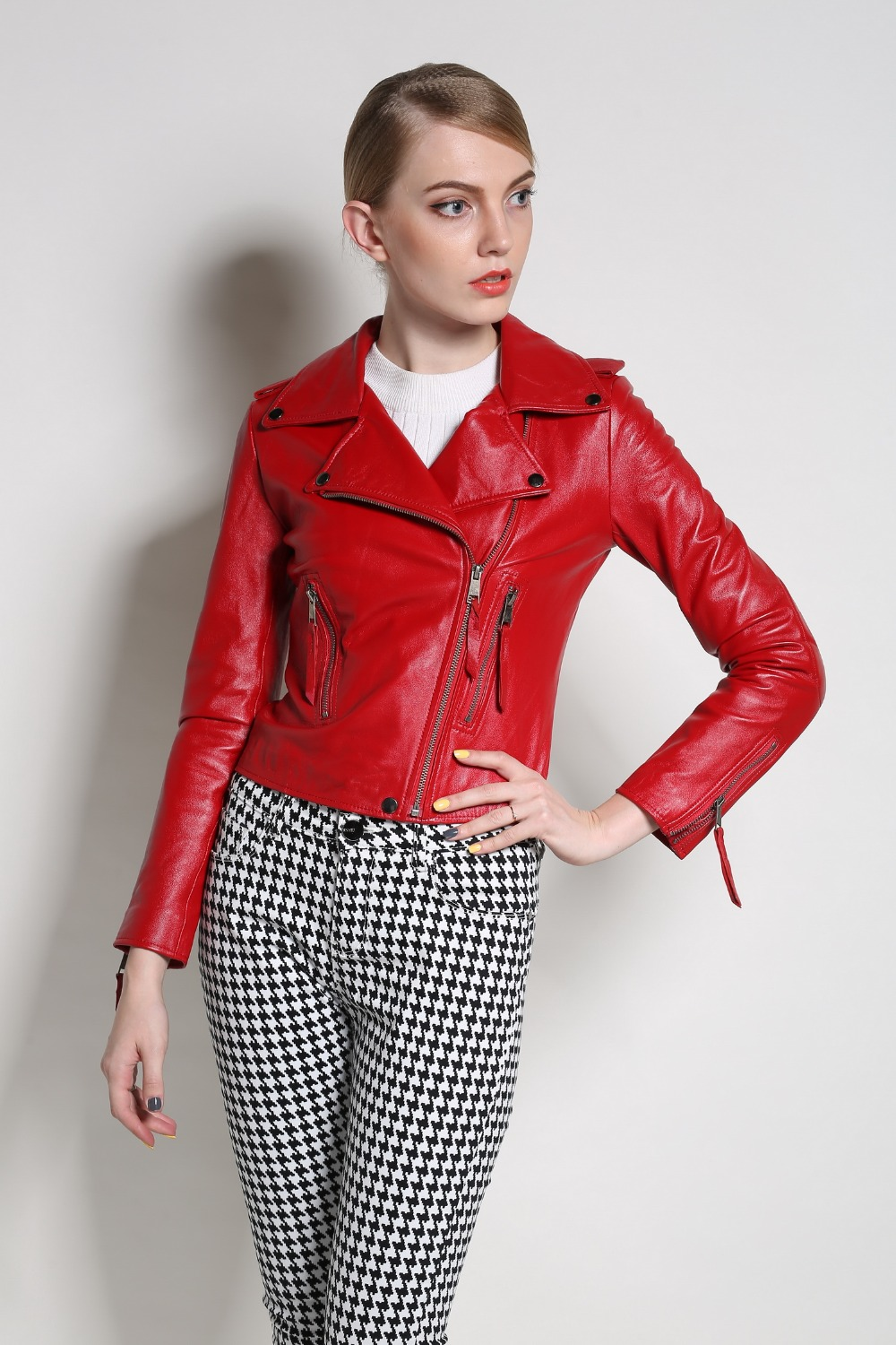 Women Real leather jackets and coats Genuine leather jacket New 2016 autumn motorcycle sheep Biker Red black S-3XL top quality dhl free shipping top brand warm a1 clothing man 100% vintage italy leather jackets thick men s genuine leather biker jacket