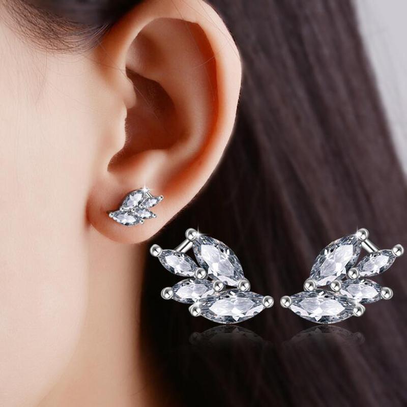 ONEVAN New Luxury Crystal Elegant Butterfly Wings Earrings For Women 925 Silver Stud Earring Fine Jewelry Valentine's Day Gifts