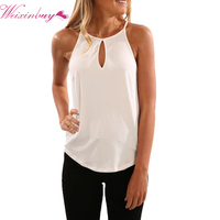 WEIXINBUY 2017 Summer Style Women Sexy Tops Round Neck Sleeveless Fashion Solid Fitness Casual Tank Tops