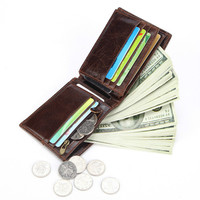 Men's wallet short oil wax leather wallet multi card position coin purse leather wallet card holder