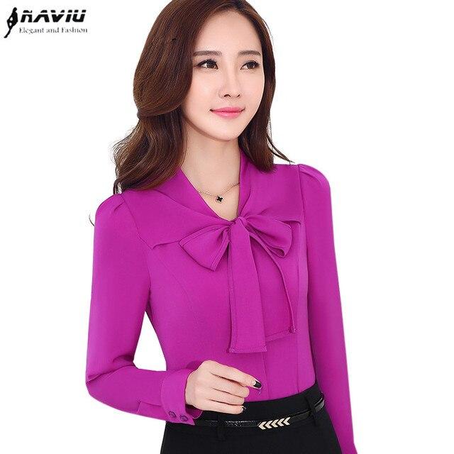 39c81a2204 Moda z długim rękawem koszula kobiet biznes formalne elegancki łuk biały  fioletowy bluzka slim szyfonowa jednolity