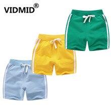 Vidmid детский летние шорты возраст для От 1 до 10 лет для маленьких мальчиков и девочек Повседневная ярких цветов пляжная одежда из хлопка короткие свободные брюки 7042 08