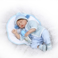 NPKCOLLECTION 22inches 55CM Silicone Reborn Doll Bonecas Baby Newborn Eyes Closed Magnetic Pacifier Bebe Doll for Girl Gifts