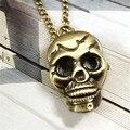 Superior Nueva Retro Punky Del Cráneo Collar de Cadena de Bronce Reloj de Bolsillo Collar de Cadena de Regalo de Agosto de 4